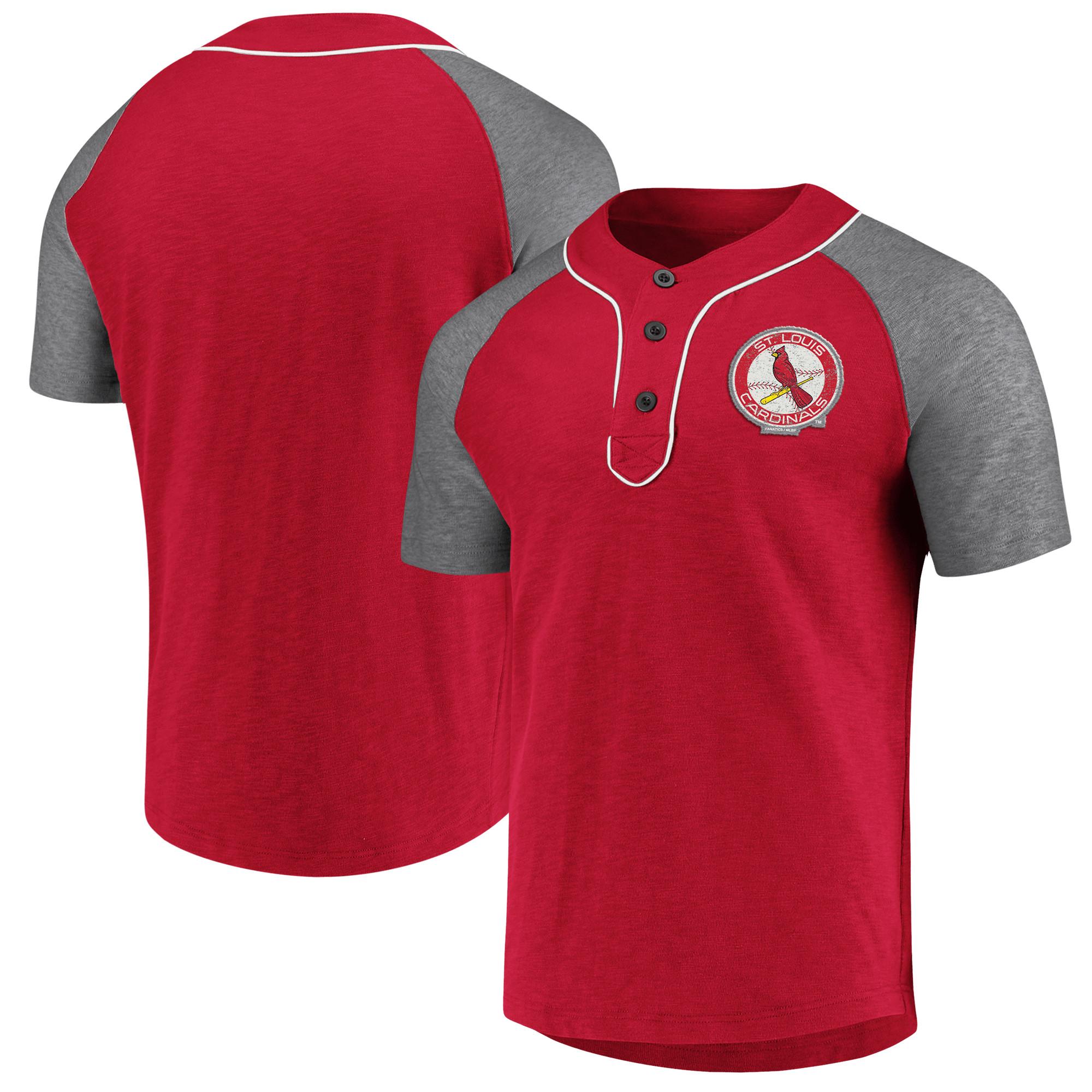St. Louis Cardinals Fanatics Branded MLB True Classics Henley T-Shirt - Red/Gray