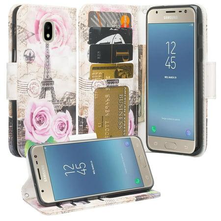 Samsung Galaxy J7 2018, J7 V 2nd Gen, J7 Star, J7 Refine, J7 Aura, J7 Top, J7 Crown Case, Wrist Strap Leather Wallet Kickstand Cover (Paris Cast)