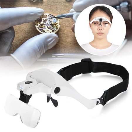 Yosoo Eyeglass-Type Headband Magnifier with 5 Lens LED Light for Jewelry Checking Watch Repairing,Headband Loupe,1.5X
