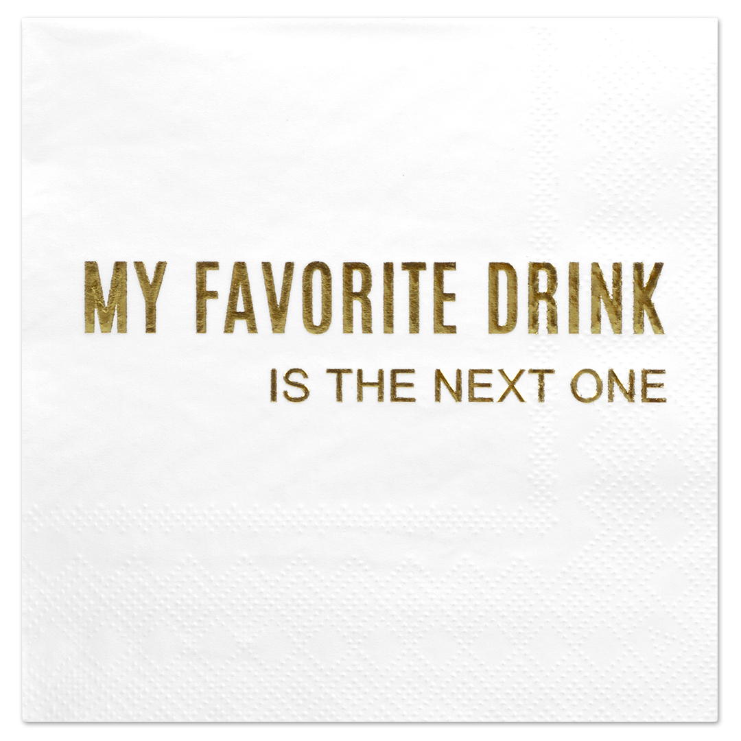 Koyal Wholesale My Favourite Drink, Funny Quotes Cocktail Napkins, Gold Foil, Bulk 50 Pack Count 3 Ply Napkins