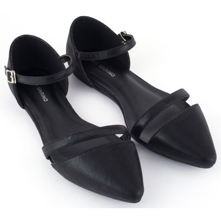 0a11880fef54 Mio Marino D Orsay Pointed Toe Flats - Womens Ankle Strap Dress Shoes (Black  Metallic