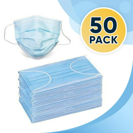 50 Disposable Face Masks, 3-ply Breathable Dust Protection Masks, Elastic Ear Loop Filter Mask