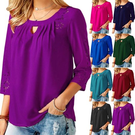 ea1bd4b0213 Women Casual 3 4 Sleeve Tops Sexy Round Neck Hollow Out Lace Shirts Ladies  Fashion