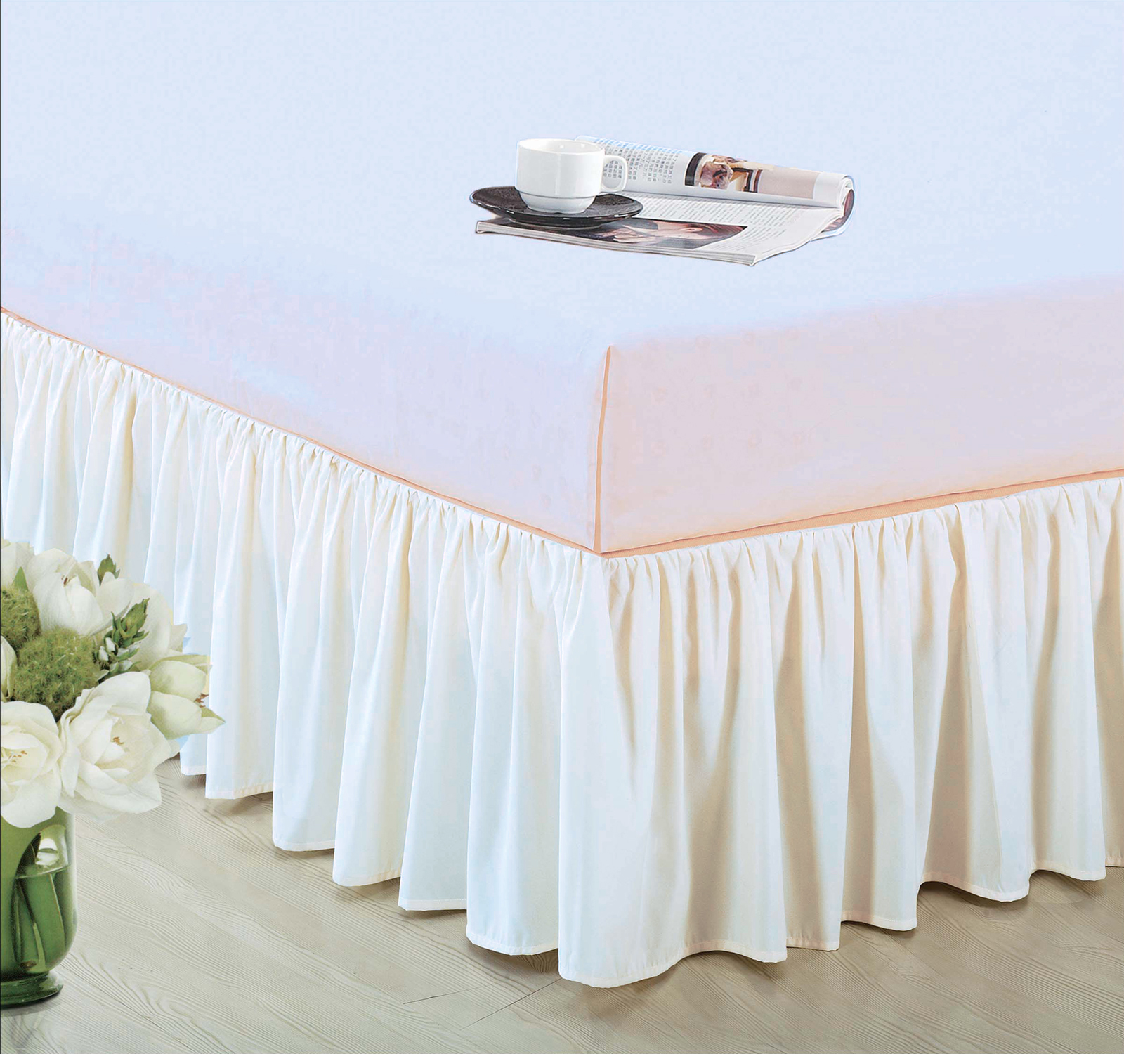 "14"" Drop Dust Ruffle Ruffled Bedskirt Box Spring Cover Machine Wash Ivory Twin by HG station"