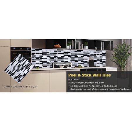 Peel Stick Border (Easy Peel & Stick 3D Vinyl Tile For Kitchen or Bathroom Backsplash or Border. WM-108C, 4 Sheets, 2.83 Sq.Ft.)