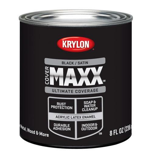 Krylon Cover Maxx Paint, Satin Black, 1/2 Pt