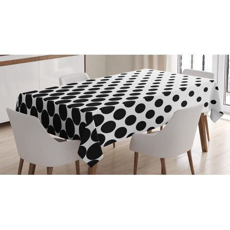 Black And White Polka Dot Tablecloth (Abstract Tablecloth, Minimalist Monochrome Dots in Black Growing Big from Bottom to Top Polka Dots Image, Rectangular Table Cover for Dining Room Kitchen, 52 X 70 Inches, White, by)