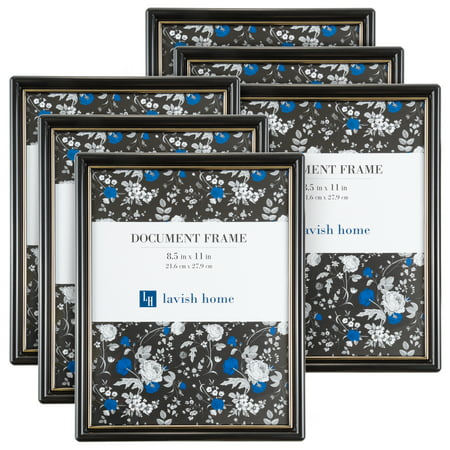Picture Frame Set, 8.5 x 11 Document Frame Pack for Picture Gallery Wall with Hangers, Set of 6 by Lavish Home (Photo Frame Packs)