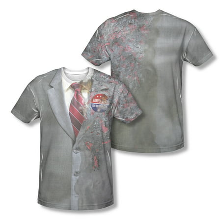 Dark Knight Two Face Costume  Mens Poly Cotton Short Sleeve Sublimation Tee Shirt (Legends Of The Dark Knight Halloween Special)