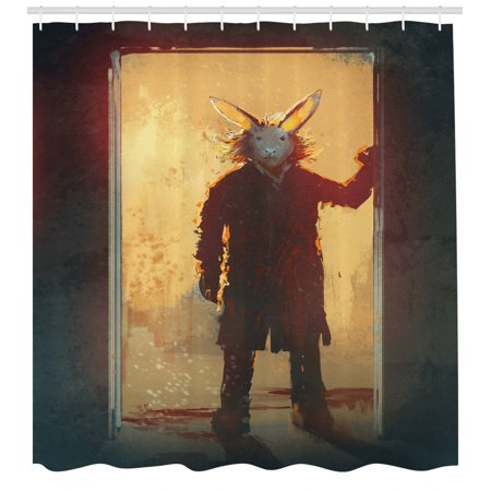 Excellent Fantasy Shower Curtain Scary Person With Rabbit Mask At The Door Spiritual People Acrylic Paint Print Fabric Bathroom Set With Hooks Yellow Black Creativecarmelina Interior Chair Design Creativecarmelinacom