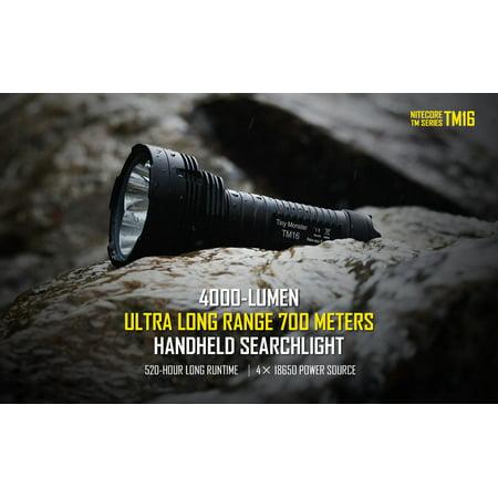 (Nitecore TM16 Tiny Monster 4000 Lumens Flashlight, with CREE XM-L U2 LED, Black)