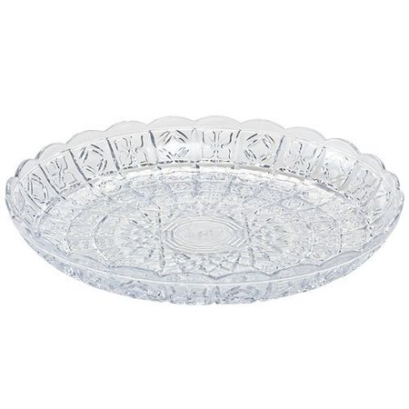 (Party Dimensions Crystal Cut Plastic Tray, 11-Inch, Clear)