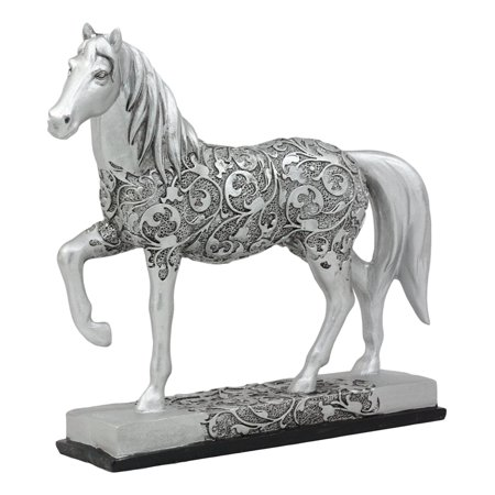"""Ebros Equestrian Filigree Design Graceful Sauntering Silver Horse Statue 7.75""""Long Exotic Carved Stallion With Base Animal Decor Sculpture"""