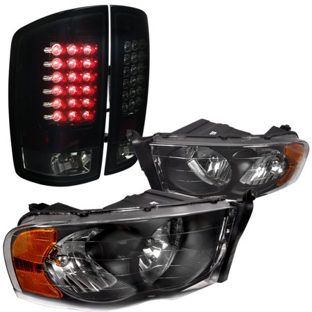 Spec-D Tuning For 2002-2005 Dodge Ram 1500 2500 3500, Black Headlights, Glossy Black Smoked Led Tail Lights (Left + Right) 2003 2004 (96 Dodge Ram Led Tail Lights)