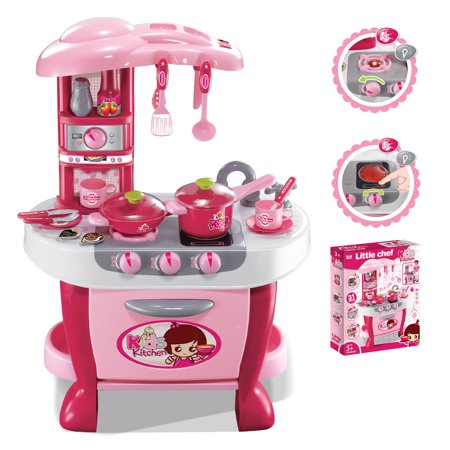 Deluxe Kitchen Appliance Cooking Play Set With Lights &
