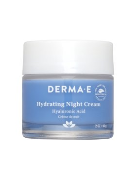 Derma E Hydrating Night Face Cream, Hyaluronic Acid Moisturizer, 2 Oz