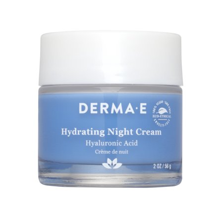 Derma E Hydrating Night Face Cream, Hyaluronic Acid Moisturizer, 2 Oz