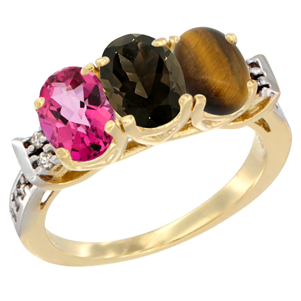 10K Yellow Gold Natural Pink Topaz, Smoky Topaz & Tiger Eye Ring 3-Stone Oval 7x5 mm Diamond Accent, sizes 5 10 by WorldJewels