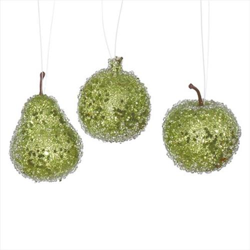 NorthLight Lime Green Beaded Sequin And Glitter Pear, Apple & Pomegranate Fruit Christmas Ornaments - 3 Count