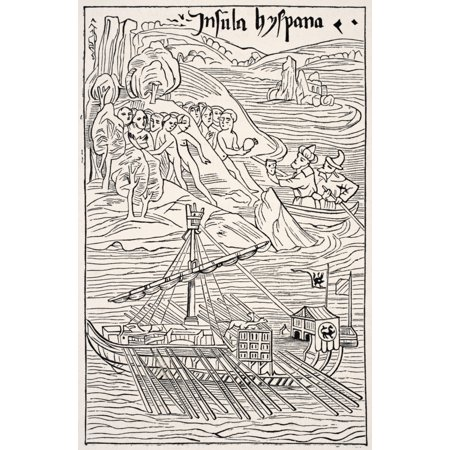 Bolo Santo Domingo Harbor - Discovery Of Santo Domingo Insula Hyspana By Christopher Columbus After A Sketch Which Is Attributed To Him And In Which He Is Himself Made To Appear Facsimile Of A Wood Engraving Of The Epistola Chri
