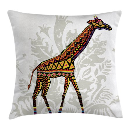 Batik Decor Throw Pillow Cushion Cover African Savannah Animal Beauteous Giraffe Print Body Pillow Cover
