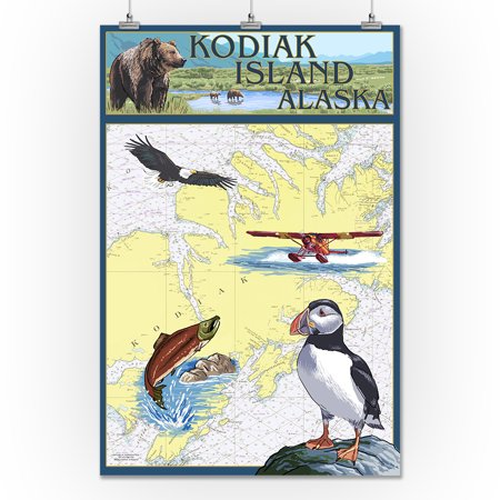 Kodiak Island, Alaska - Nautical Chart - Lantern Press Artwork ...