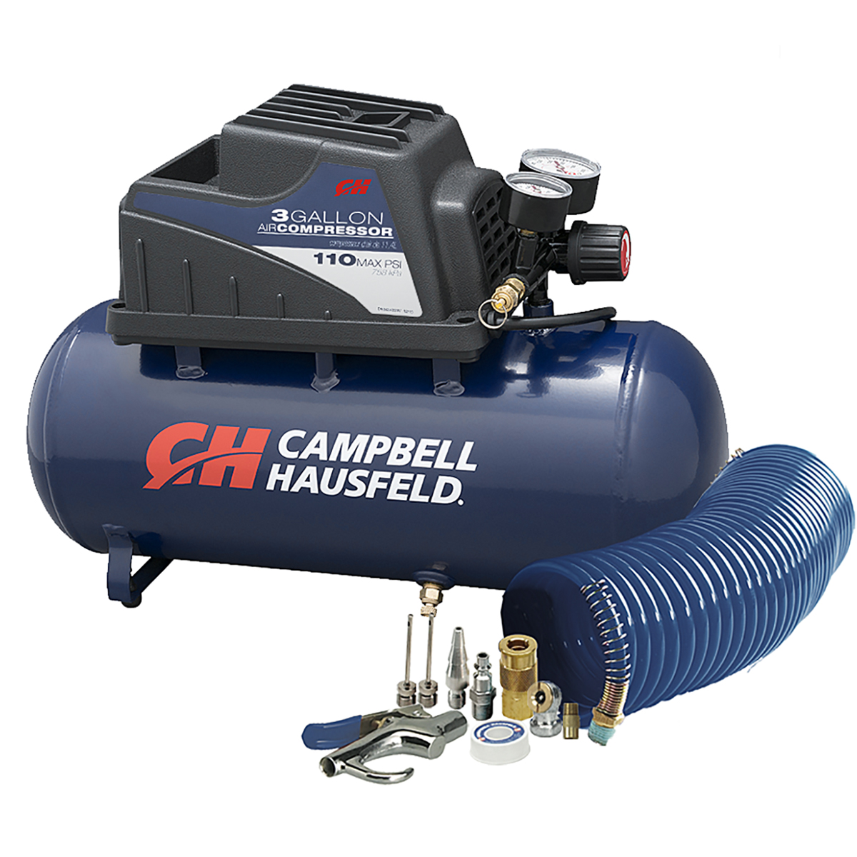 25 Piece Air Compressor Accessory Tool Kit 50 feet Hose Storage Case Tire Gauge