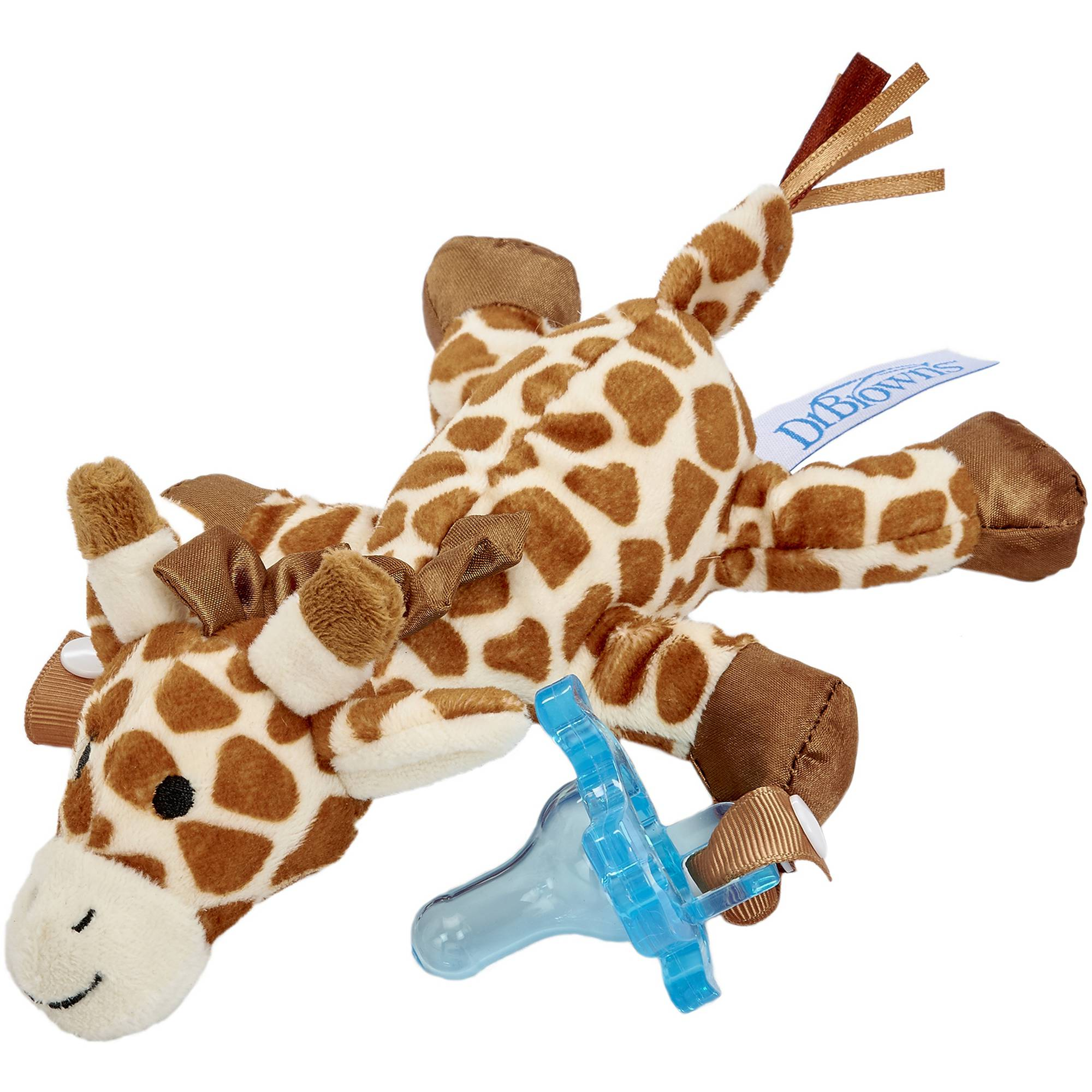 Dr. Brown's Giraffe Lovey Pacifier and Teether Holder with Blue 1-Piece Pacifier, BPA-Free