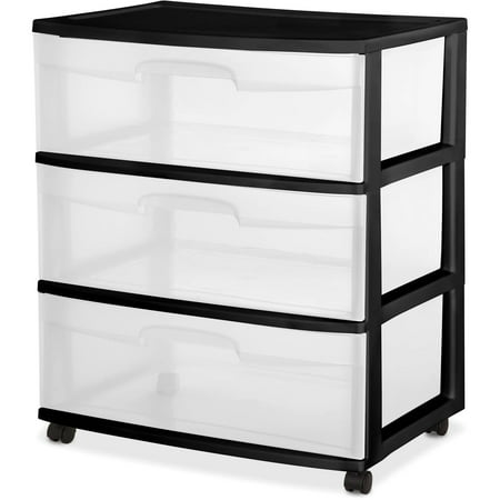 Sterilite 3 Drawer Wide Cart Black