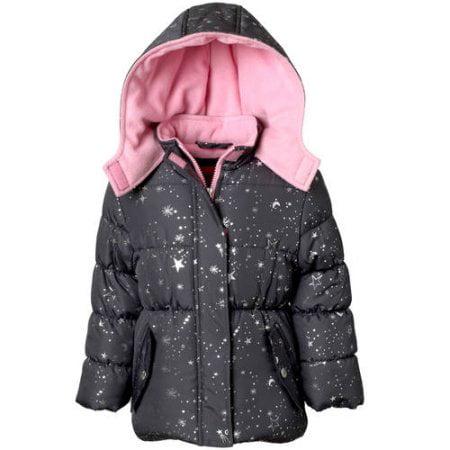 pink platinum baby toddler girl metallic star print puffer jacket coat
