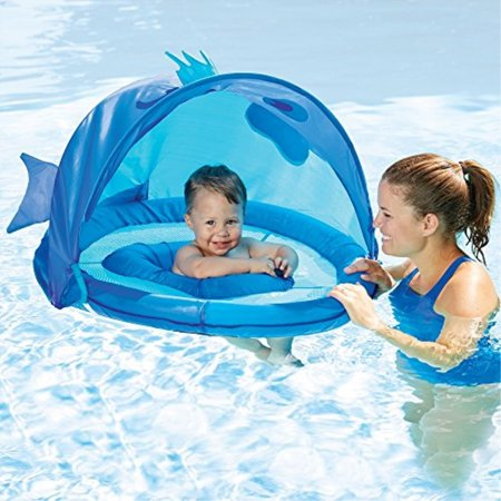 SwimSchool Fun Fish Fabric Baby Boat, Canopy, UPF 50, Extra-Wide Inflatable  Pool Float, 6 to 18 months, Blue
