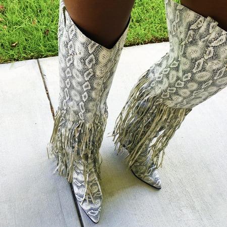 Cowboy Boot Spats (Cape Robbin Montana Snake Grey Fringe Thigh High Over Knee Western Cowboy)