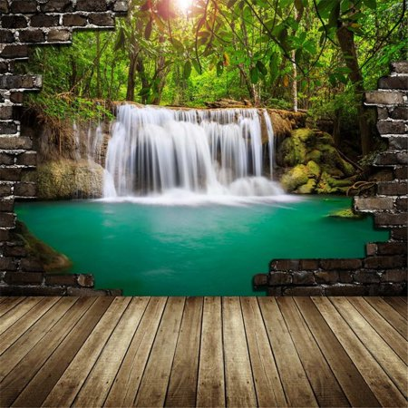 HelloDecor Polyester Fabric Photography Backdrop 5x7ft Lake Green Tropical Jungle Trees Pictures Photo Backgrounds Wooden Floor Dark Brick Backdrops for Kids](Jungle Safari Backdrop)