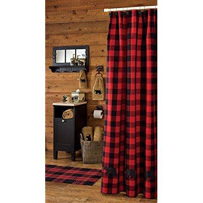 Park Designs Buffalo Check Bear Applique Shower Curtain