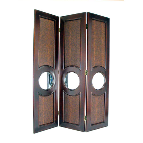 Wayborn Faux Leather with Mirror Poker Room Divider in Brown