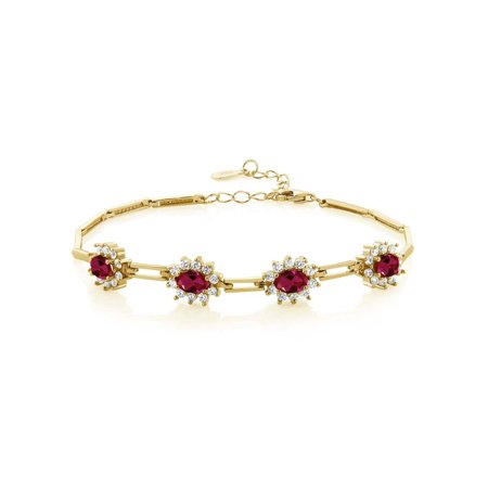 4.72 Ct Oval Red Created Ruby 18K Yellow Gold Plated Silver Bracelet