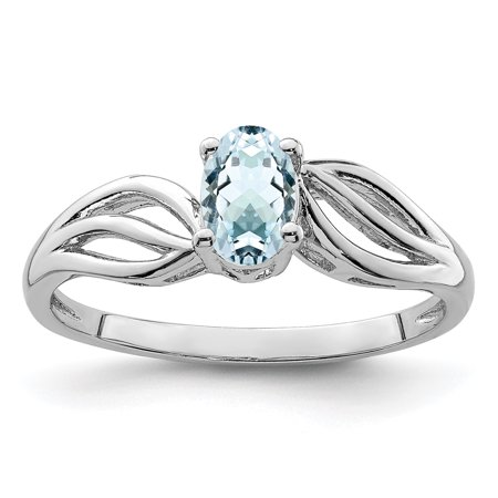 925 Sterling Silver Blue Aquamarine Band Ring Size 5.00 Birthstone March Gemstone Fine Jewelry Gifts For Women For Her - image 6 de 6