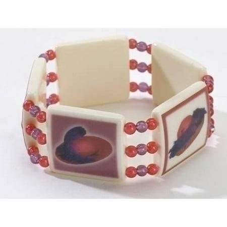 Set of 12 Red Hat Society Beaded Stretch Bangle Bracelets #15148