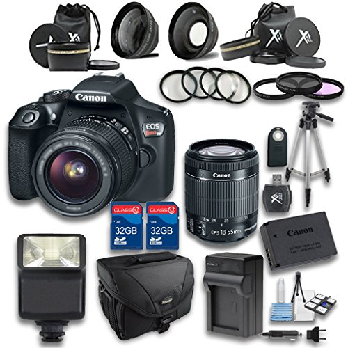 Canon T6 DSLR Camera +18-55mm IS STM Lens + Wideangle Lens + Telephoto Lens + 2 PC 32GB Memory Card + 4 PC Macro Bundle + Flash Light + Tripod + Remote Control + Case - International Version