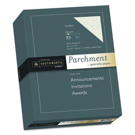 Fine Parchment Paper, 24 lb , Ivory, 500 sheets (984C), 24 lb. writing weight for professional use and special occasions By Southworth