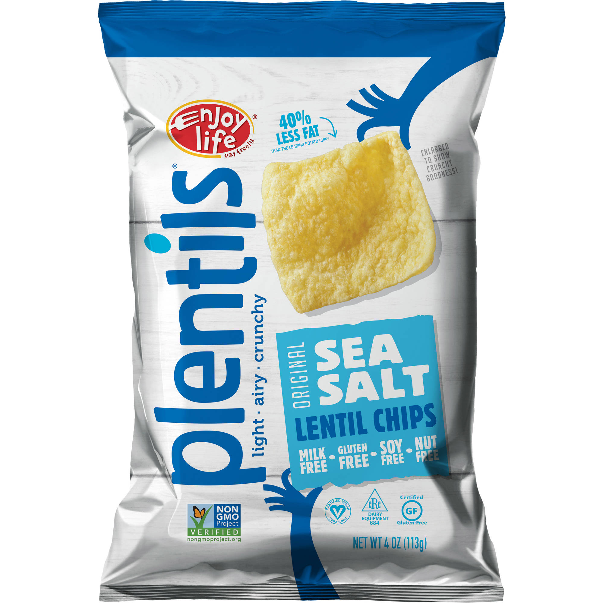 Enjoy Life Plentils Original Sea Salt Lentil Chips, 4 oz, (Pack of 12)