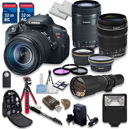 Canon EOS Rebel T5i 18.0 MP CMOS Digital Camera HD Video with Canon EF-S 18-135mm f/3.5-5.6 IS STM Lens + Canon EF-S 55-250mm f/4-5.6 IS STM Lens -