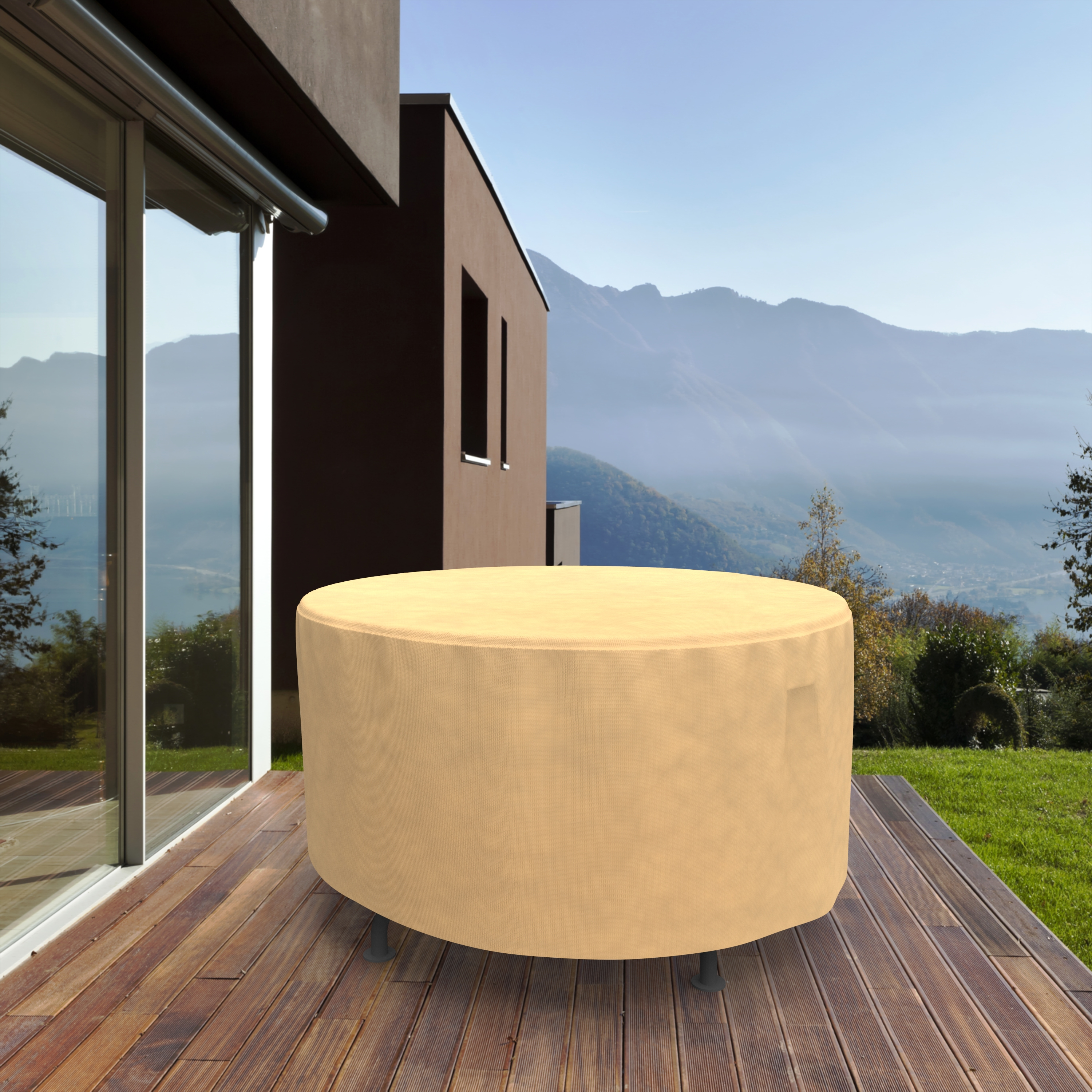 Budge Small Nutmeg Patio Outdoor Round Table Cover, All-Seasons