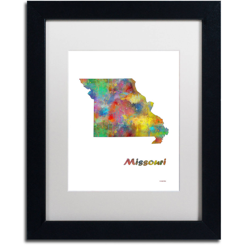"Trademark Fine Art ""Missouri State Map-1"" Canvas Art by Marlene Watson, White Matte, Black Frame"