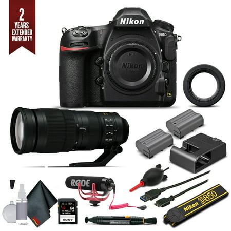Nikon D850 Digital SLR Camera W/ Nikon AF-S FX NIKKOR 200-500mm f/5.6E ED Lens, Mic, Extra Battery, and More. (Intl Model)