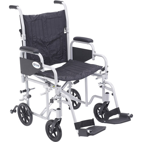 """Drive Medical Poly Fly Light Weight Transport Chair Wheelchair with Swing away Footrests, 20"""" Seat"""