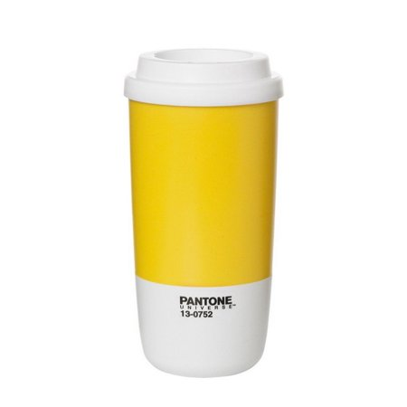 Pantone Universe Lemon Yellow Insulated Thermo Travel Cup With Lid