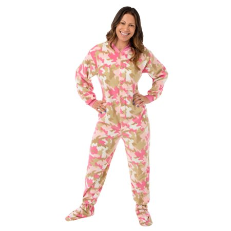 Big Feet Pjs Pink Camo Micro-polar Fleece Adult Footed Pajamas Sleeper w/ Drop Seat