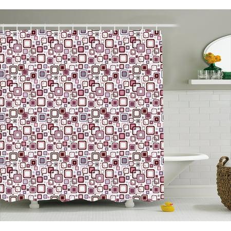 Geometric Shower Curtain Small Squares Retro Pattern Design Fabric Bathroom Set With