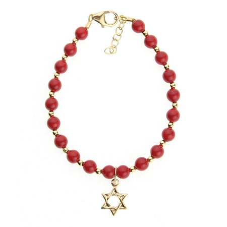 Red Coral Swarovski Pearls with 14kt Gold filled Beads and Star of David Charm Bracelet